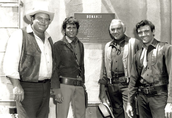 "Plaque erected June 24, 1968, on the ""Bonanza"" sound stage thanking NBC and Paramount Pictures for making possible ""The World's most successful television show"" on its 10th anniversary. Dedicated to producer David Dortort and (left to right) Dan Blocker, Michael Landon, Lorne Greene and David Canary."