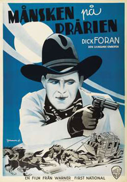 "Swedish poster of Dick Foran in ""Moonlight on the Prairie""."