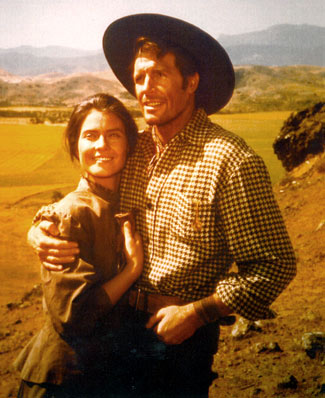 "Diane Baker and Robert Horton take a break from filming ""The Dangerous Days of Kiowa Jones"", an MGM 1966 TV movie."