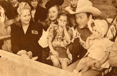 Another shot from that 1945 rodeo with (L-R) Arlene Rogers, Dale Evans, Cheryl Rogers, Roy and Linda Lou Rogers.