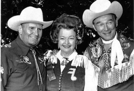 Gene Autry, Dale Evans and Roy Rogers at the Hollywood Christmas Parade in 1981.
