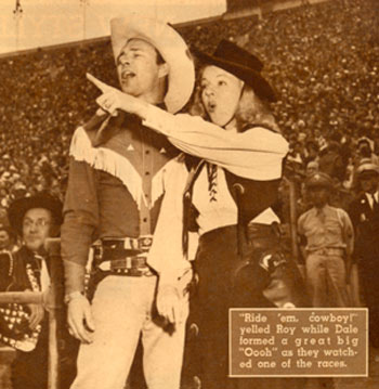 Roy and Dale at a Hollywood rodeo in mid-1945.