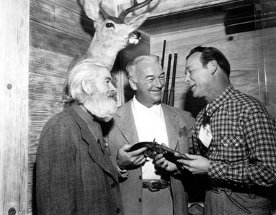 "Gabby Hayes, William Boyd and Roy Rogers during a rehearsal at Roy's house for the ""Western Hall of Fame Hoss Opera"" held at L.A.'s Olympic Auditorium 11/28/48."