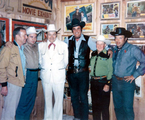 (L-R) Hal Miller,, cartoonist Max Harrison, Tex Ritter, Sunset Carson, Tex Barr and Jerry Whittington in Hal Miller's Windy Hollow museum.