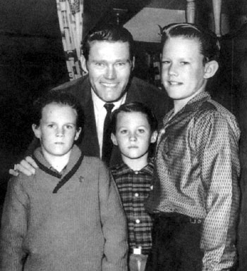 "Chuck Connors, ""The Rifleman"", with his sons Jeff, Steve and Mike."