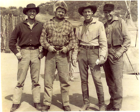 "In-between scenes for ""Wild Bill Hickok: Mountain Men"" are (L-R) Wayne Mallory, Henry Kulky, Guy Madison, Paul Sorensen. Mallory is Madison's stuntman/actor brother."
