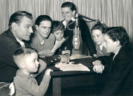 Obviously Buck Jones and group of young actors ready for an NBC radio show, just unsure of this photo's origin. (L-R) Spanky McFarland, Buck Jones, Frankie Darro, Dickie Moore, unknown, unknown, Freddie Bartholomew. (Thanx to Bobby Copeland.)