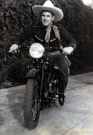 Cars of the Stars: Hmmm... Seems Ken Maynard prefers a motorcycle to either a car or his horse Tarzan. (Thanx to Bobby Copeland.)