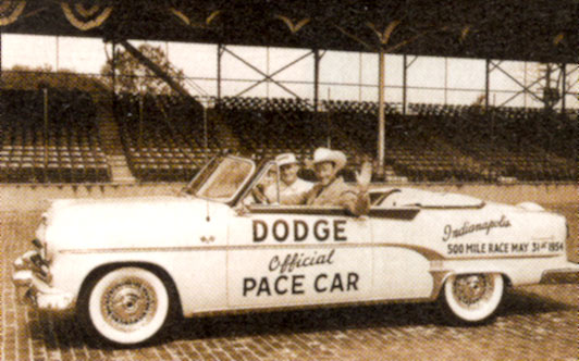 Cars of the Stars: Roy Rogers rides tall at Indianapolis Motor Speedway in an 1954 Dodge. (Thanx to Frank Story.)
