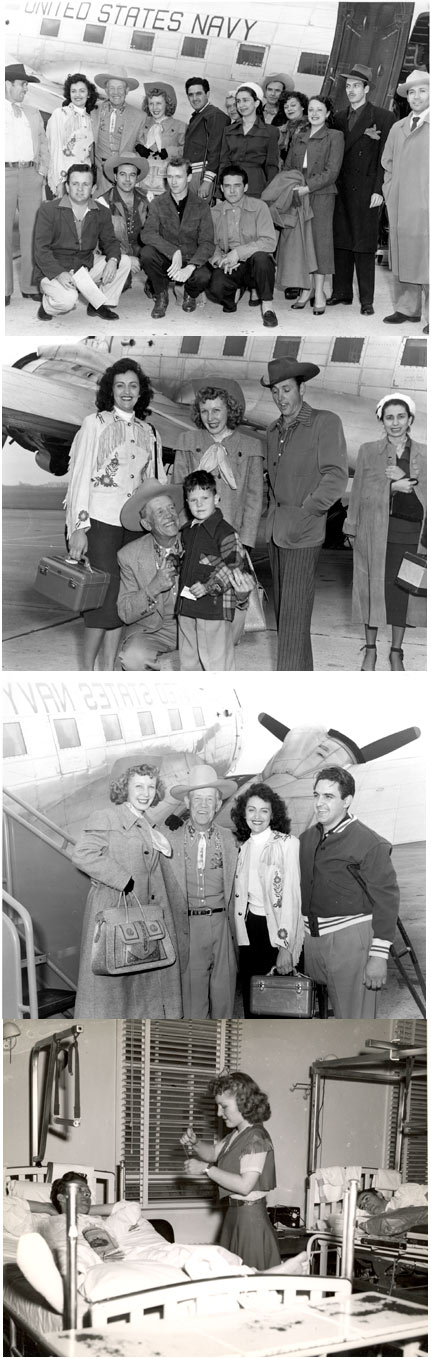 A group of western film actors and entertainers returning in late 1951 by Navy plane from a series of shows for some 32,000 hospitalized Korea veterans at Mare Island and Oakland Navy Hospitals, Letterman Army General Hospital and Oak Knoll Hospital. The benefits were the latest in a series of eleven staged for wounded personnel by Roy Canada, William S. Chaney and Lennie Smith. In the top photo: Roy Canada (far left), Tom London (second from left top row), Carolina Cotton (next to London) and stuntman Fred Carson kneeling (second from left). Others are unknown. Second photo shows London and Carolina Cotton with a young boy. Others are unknown. Third photo is again London and Carolina and two unknowns. Fourth photo is Carolina Cotton in one of the toured hospitals.