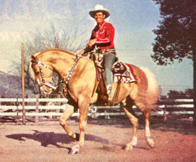 Gene Autry on a palomino named Pal. No idea for the reason on this photo.