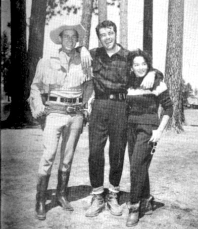 "Guy Madison's good friends Rory and Lita (Baron) Calhoun visit Guy on location for ""Wild Bill Hickok"" at Big Bear Lake, CA."