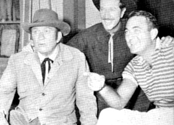 "Richard Boone as Paladin grins for the camera with ""Have Gun Will Travel"" director Andrew McLaglen (right) and his actor/father Victor McLaglen who co-starred on the episode ""The O'Hare Story"" in '58."