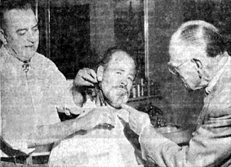 "Paul Brinegar gets his beard trimmed by Raton, New Mexico, barber Roy Buchanan on September 3, 1957, while his father P. A. Brinegar gives a little sage advice. Paul was visiting his parents in Raton and was co-starring at the time as Mayor Jim ""Dog"" Kelly on Hugh O'Brian's ""Wyatt Earp"" TV series."