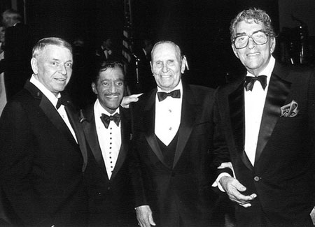 Frank Sinatra, Sammy Davis Jr. and Dean Martin coalesce around Gene Autry during the first Autry Museum Gala. (Thanx to Bobby Copeland.)