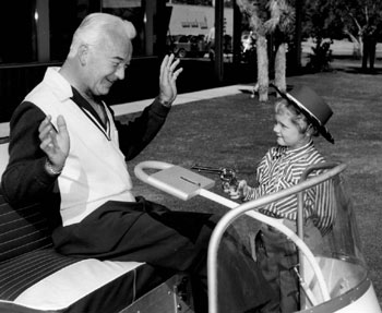 "A young buckarette gets the drop on William ""Hopalong Cassidy"" Boyd. (Thanx to Bobby Copeland.)"