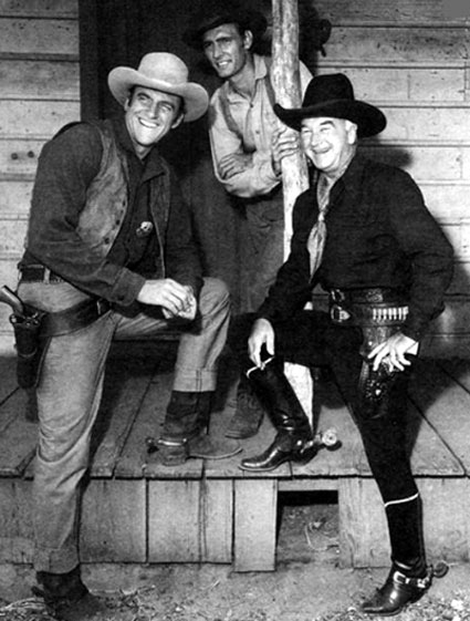 "William Boyd as Hopalong Cassidy visits the ""Gunsmoke"" set with James Arness and Dennis Weaver. (Thanx to Jerry Whittington.)"