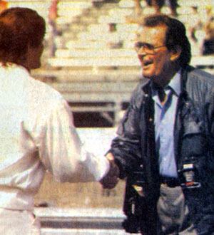James Garner greets a fan at the May 1990 Indianapolis 500.