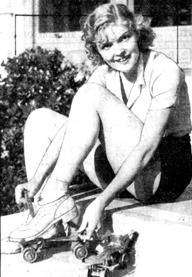 "Cute new Hollywood leading lady Verna Hillie prepares to go roller skating in April 1933. Verna co-starred with John Wayne in ""Star Packer"" and ""Trail Beyond"" (both '34 Lone Star) and Ken Maynard's ""Mystery Mountain"" serial ('34 Mascot)."
