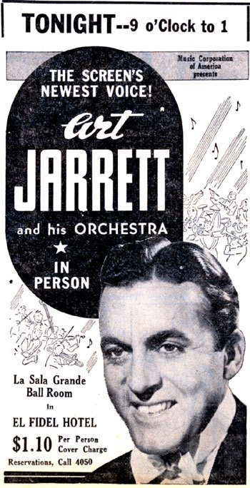"Bandleader/singer Art Jarrett appearing in Las Vegas, New Mexico in January 1939. Later that year Jarrett starred with Lee Powell and Fuzzy St. John in ""Trigger Pals"" for Grand National."