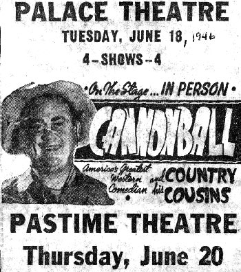 Dub Taylor appeared at two theatres in Memphis, Tenn. in June 1946.