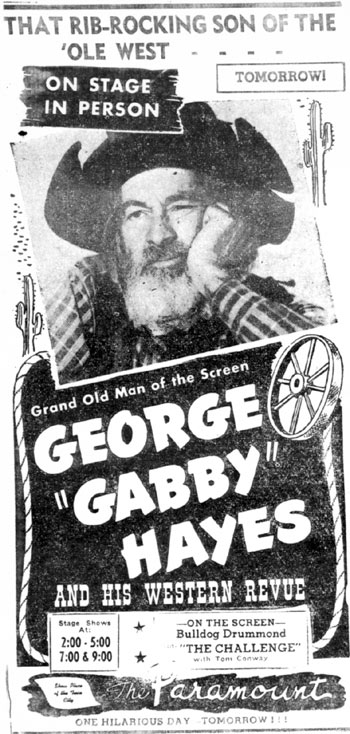 Gabby Hayes in Minneapolis/St. Paul in 1948.
