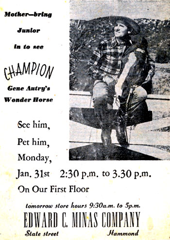 Even Champion made appearances without Gene. Hammond, Indiana, circa late '40s.