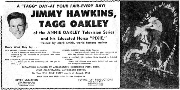 A general sales pitch for booking Jimmy Hawkins as Tagg Oakley. (Thanx to Billy Holcomb.)