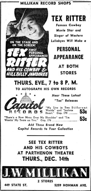 Tex Ritter in Hammond, Indiana, in December 1944.