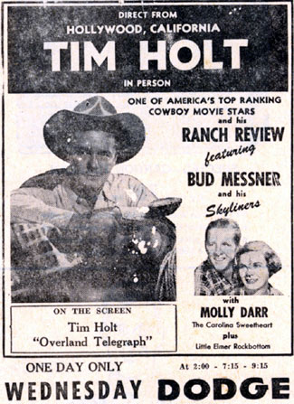 Tim Holt in Dodge City, Kansas, on October 14, 1952.