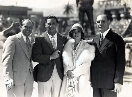 "Jack and Harry Warner flank George O'Brien and Dolores Costello during the filming of Warner's ""Noah's Ark"" in 1928. (Thanx to Bobby Copeland.)"