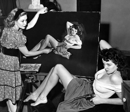 "Jane Russell poses for an artist's rendering to promote ""The Outlaw"". (Thanx to Jerry Whittington.)"