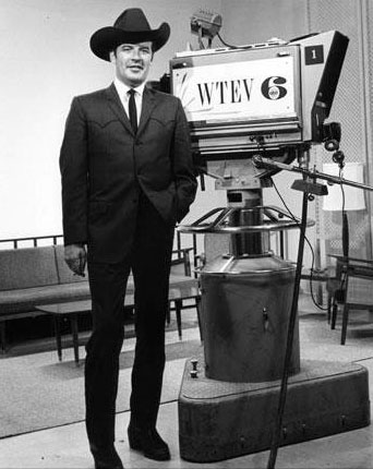"Peter Breck of ""The Big Valley"" at WTEV-TV in Jacksonville, FL, in 1965. (Thanx to Joel O'Brien.)"