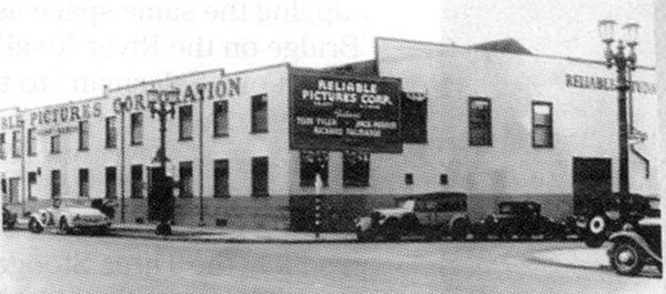 A rare photo of Reliable Pictures owned by Harry S. Webb and Bernard B. Ray from '33 to '37. The studio was at the corner of Sunset Blvd. and Beachwood Dr. where the new Technicolor post-production facility is now located. Webb and Ray produced some 45 pictures in those four years. Westerns with Jack Perrin, Bud 'n' Ben, Tom Tyler, Rin Tin Tin Jr., and Bob Custer. Note Tyler's, Perrin's and Richard Talmadge's names on the sign.