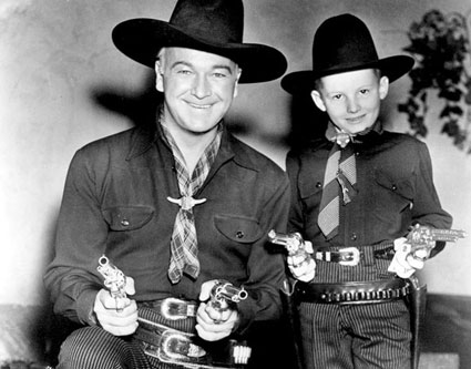 Hopalong Cassidy and a two-gun fan. (Thanx to Jerry Whittington.)