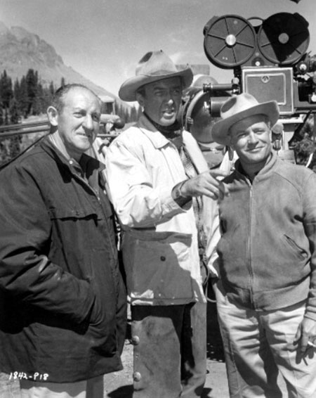 "Producer Aaron Rosenberg, star James Stewart and director James Neilson on location in Colorado for ""Night Passage"" ('57 U.I.). (Thanx to Jerry Whittington.)"