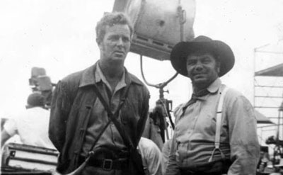 "Sterling Hayden and Ernie Borgnine on location in Bracketville, TX, for ""The Last Command"" ('55 Republic). (Thanx to Jerry Whittington.)"