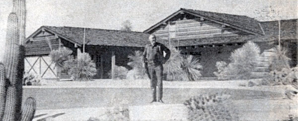 "Lorne Greene outside the ""Bonanza"" Ponderosa replica home he built in 1963 in Mesa, AZ, to promote the sale of land and homes in what was then the new Apache Country Club Estates. Greene and his wife Nancy lived in the Mesa home for several years. After a second owner had the house for some 40 years, Tom and Louise Swann purchased the Ponderosa house and restored it to the way it was when Greene was the owner. The Swanns had a grand opening of the home for some 60 fans the weekend of February 16, 2013. The photo below shows the way the Ponderosa Mesa home looks today."