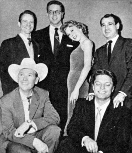 Bill Randle (in glasses) plays host to musical conductor Richard Hayman, actress Barbara Ruick, bandleader Ray Anthony, Rex Allen and Guy Mitchell on Randle's Sunday night WEWS Cleveland TV talkfest in 1956.