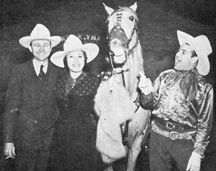 Tex Ritter, Ruth Mix, Ken Maynard and Tarzan at Grand National in October 1937.