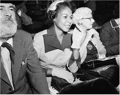 Gabby Hayes and Jackie Robinson's wife Rachel watch the 1952 World Series between the Yankees and Dodgers. Gabby and Jackie were good friends. (Thanx to Bobby Copeland.)