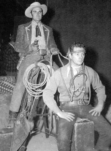 "Gag shot of Richard Martin and Tim Holt taken during the making of ""Stagecoach Kid"" ('49 RKO). (Thanx to Jerry Whittington.)"