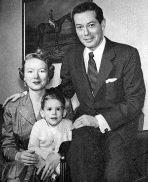 """The Gray Ghost"" in civvies...Tod Andrews with his wife Gloria and three year old son Tod Walter Andrews in 1955."