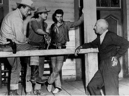 "Director Howard Hawks explains a ""Rio Bravo"" ('59) scene to John Wayne, Dean Martin and Ricky Nelson. (Thanx to Jerry Whittington.)"