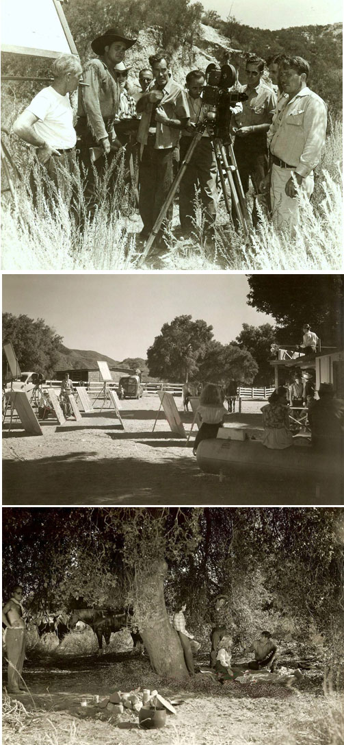 The above three photos were taken during the making of Sunset Carson's Yucca Pictures in 1948. Note director Oliver Drake in the center in the top photo. (Thanx to Jerry Whittington.)