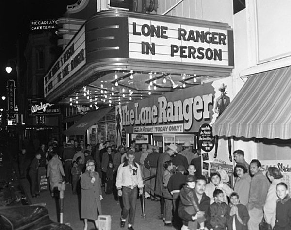 "Clayton Moore appeared in person at the Austin Theatre in Austin, TX, to promote the 1956 theatrical ""Lone Ranger"". (Thanx to Jerry Whittington.)"