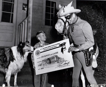 "The Lone Ranger guest starred on ""Lassie"" with Jon Provost in the ""Peace Patrol"" episode on May 5, 1959."