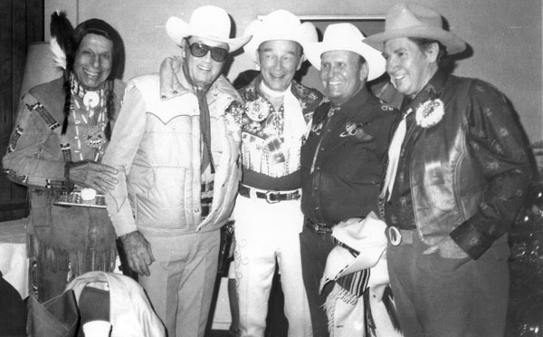 At the November 29, 1981, Hollywood Christmas Parade...(L-R) Iron Eyes Cody, Clayton Moore, Roy Rogers, Gene Autry and Pat Buttram.