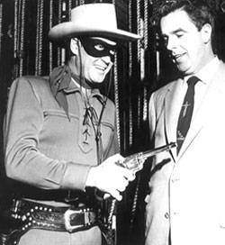 Clayton Moore personal appearance in Kansas City with local dignitary Matt Plunkett. 2/11/56.