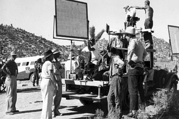 Gene with his Flying A TV westerns crew at Pioneertown circa 1950-'51. (Thanx to Jerry Whittington.)